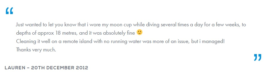 Scuba diving with the mooncup review