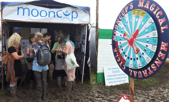 Mooncup stall at Glastonbury