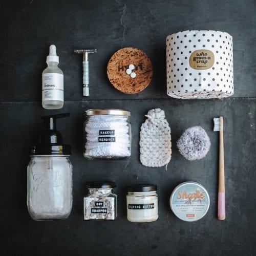 Plastic free bathroom products flatlay