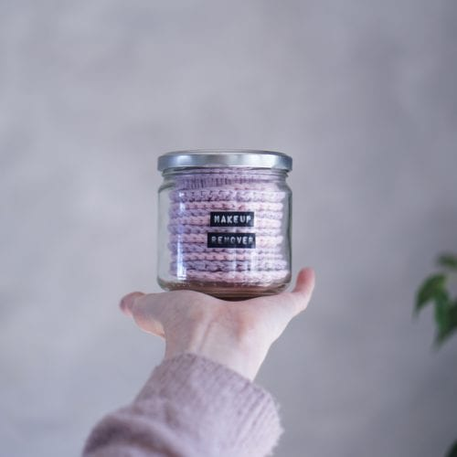 A jar of home made natural make up removal pads