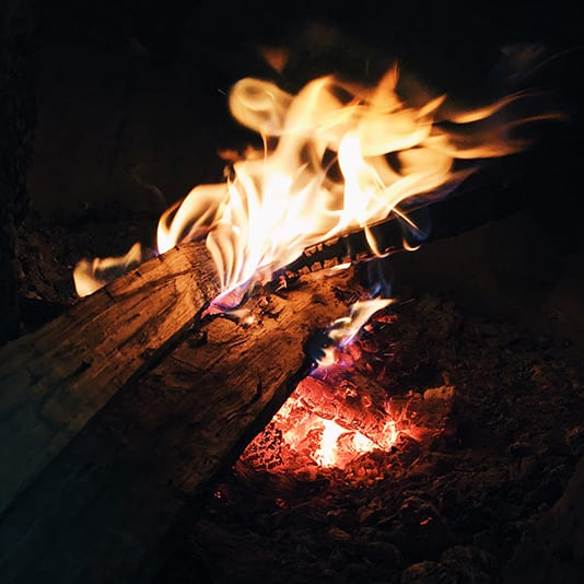 Sustainable camping fire