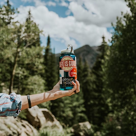 Bring a reusable water bottle to camping