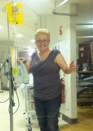 Jo during her first chemo session for ovarian cancer