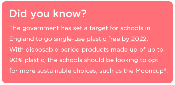 The Mooncup will help the government reach its plastic free schools target by 2020