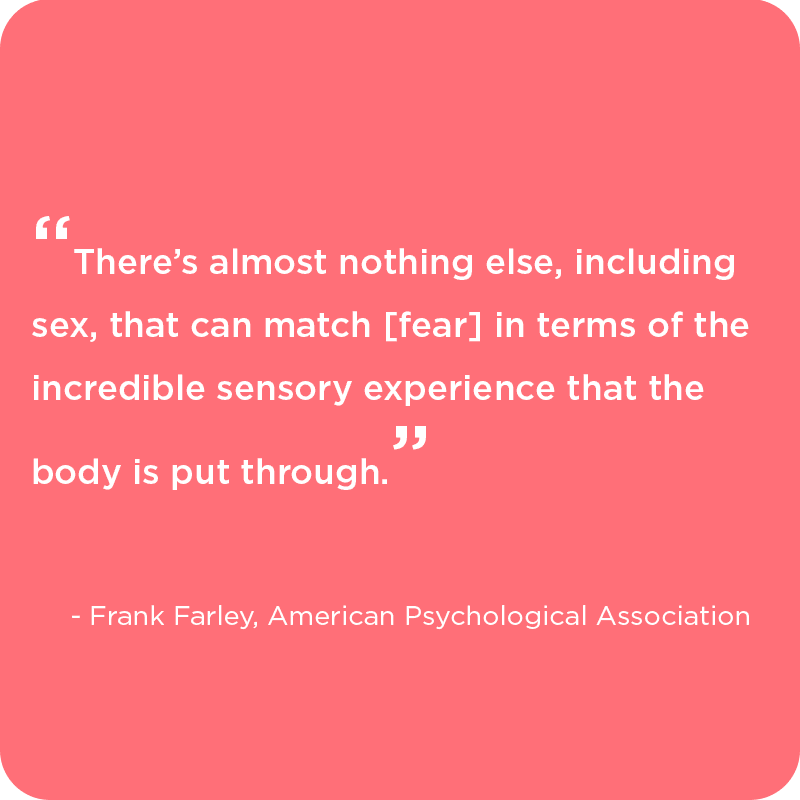 The intense sensory experience caused by the fear of blood, quote from Psychologist Frank Farley