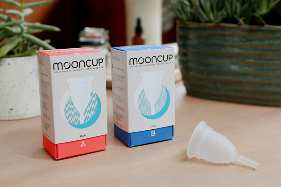 Mooncup new branding on boxes