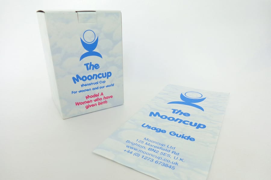 Second edition of Mooncup branding on boxes